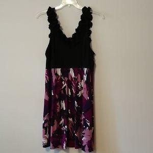 Purple and black ruffled sleeve dress